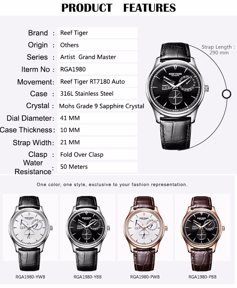 Reef Tiger/RT Mens Elegant Automatic Watches with Power Reserve Complete Calendar Rose Gold Watch RGA1980