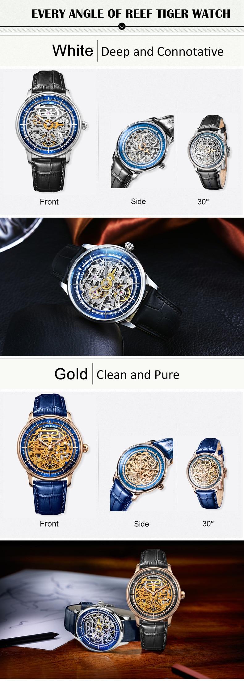Reef Tiger/RT Designer Skeleton Mens Watch Steel Case Calfskin Leather Automatic Wrist Watch RGA1975