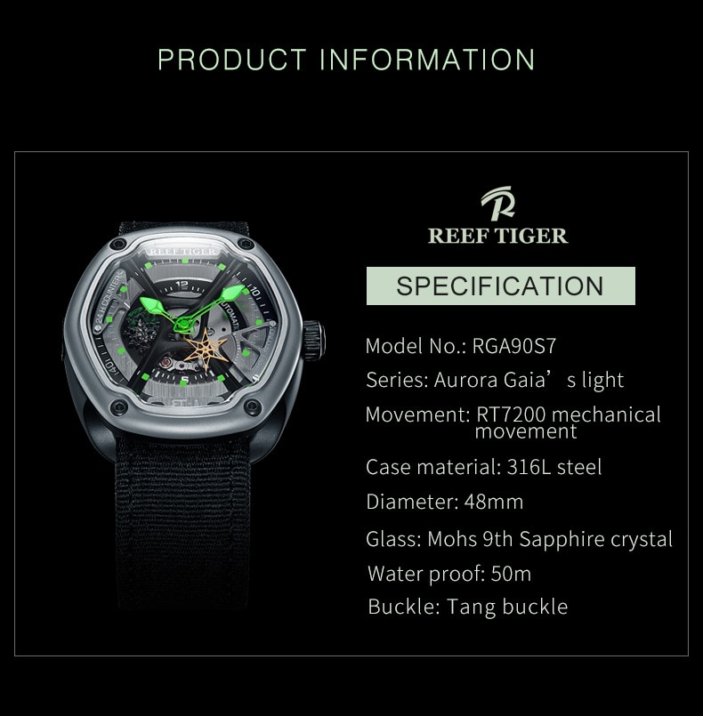 Reef Tiger/RT Luxury Sport Watch Men Waterproof Top Brand Automatic Watch Luminous Dive Watches Relogio Masculino RGA90S7