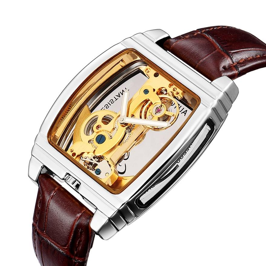 Creative Dial Automatic Mechanical Watches Men Steampunk Skeleton Luxury Gear Self Winding Leather Men's Clock Watch Male Reloj