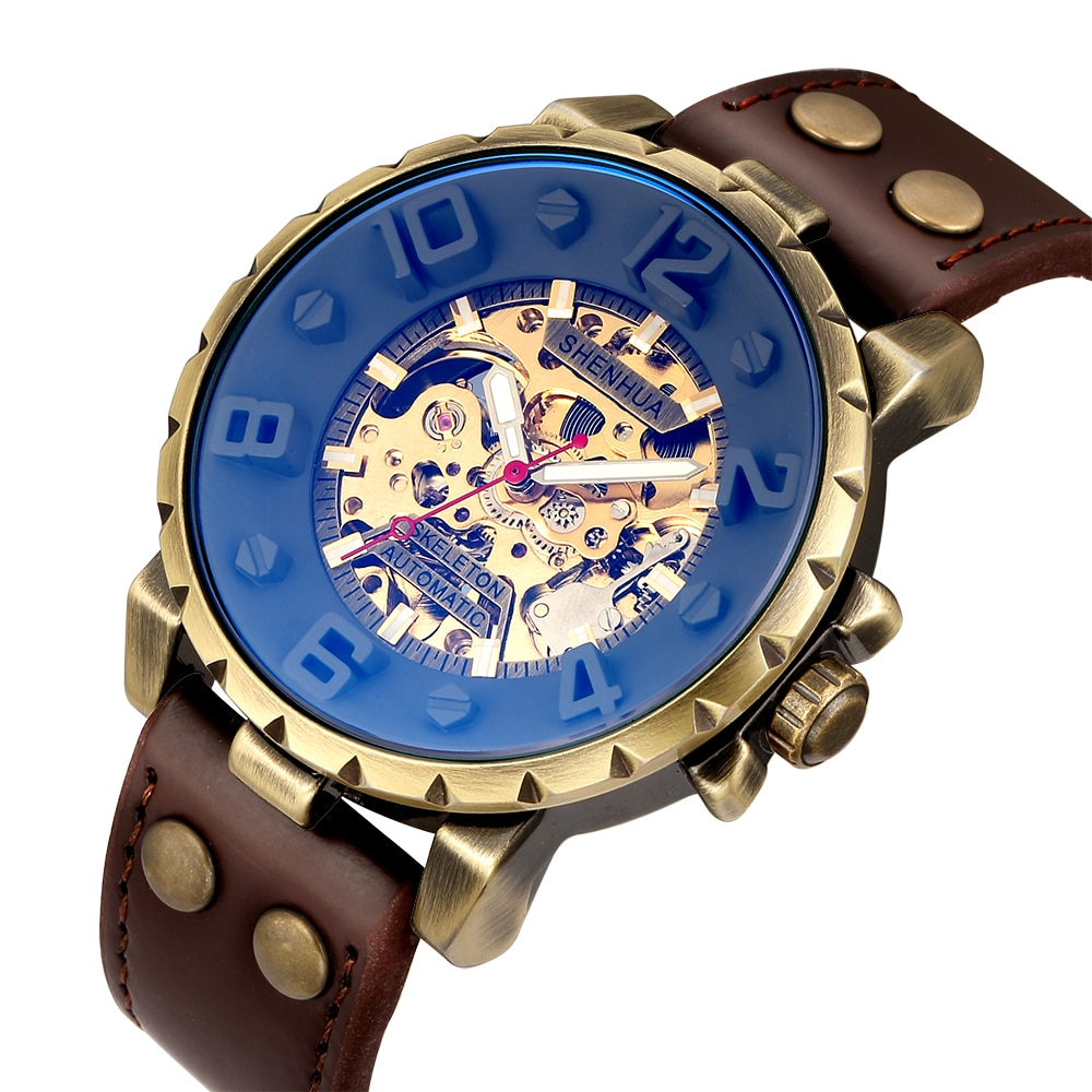 Vintage Automatic Mechanical Wristwatch Men Gear Skeleton Steampunk Self Winding Watches Without Battery Leather Clock Reloj