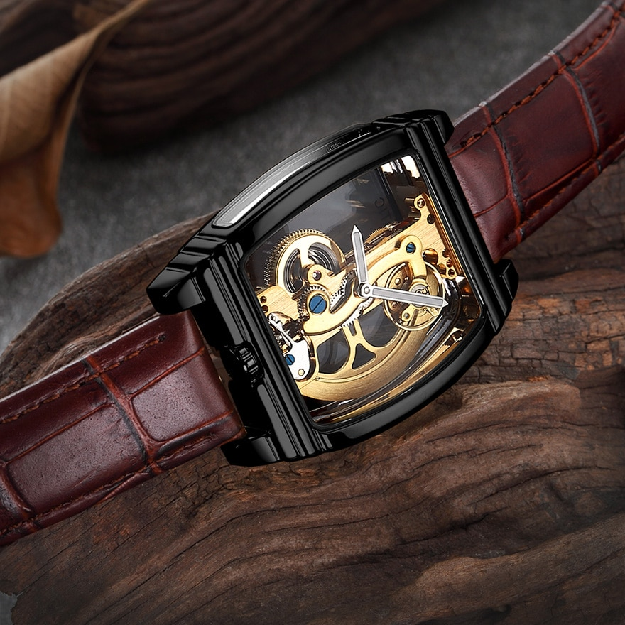 Steampunk Skeleton Luxury Transparent Automatic Mechanical Watch Men Gear Self Winding Leather Men's Clock Watches montre homme
