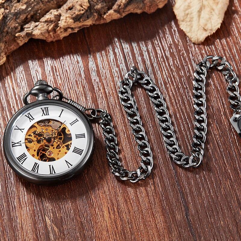 Unique Mechanical Pocket Watch Men Women Black white Watch Gold Mechanical Movement Hand Wind Clock Fashion Fob Chain Pendants