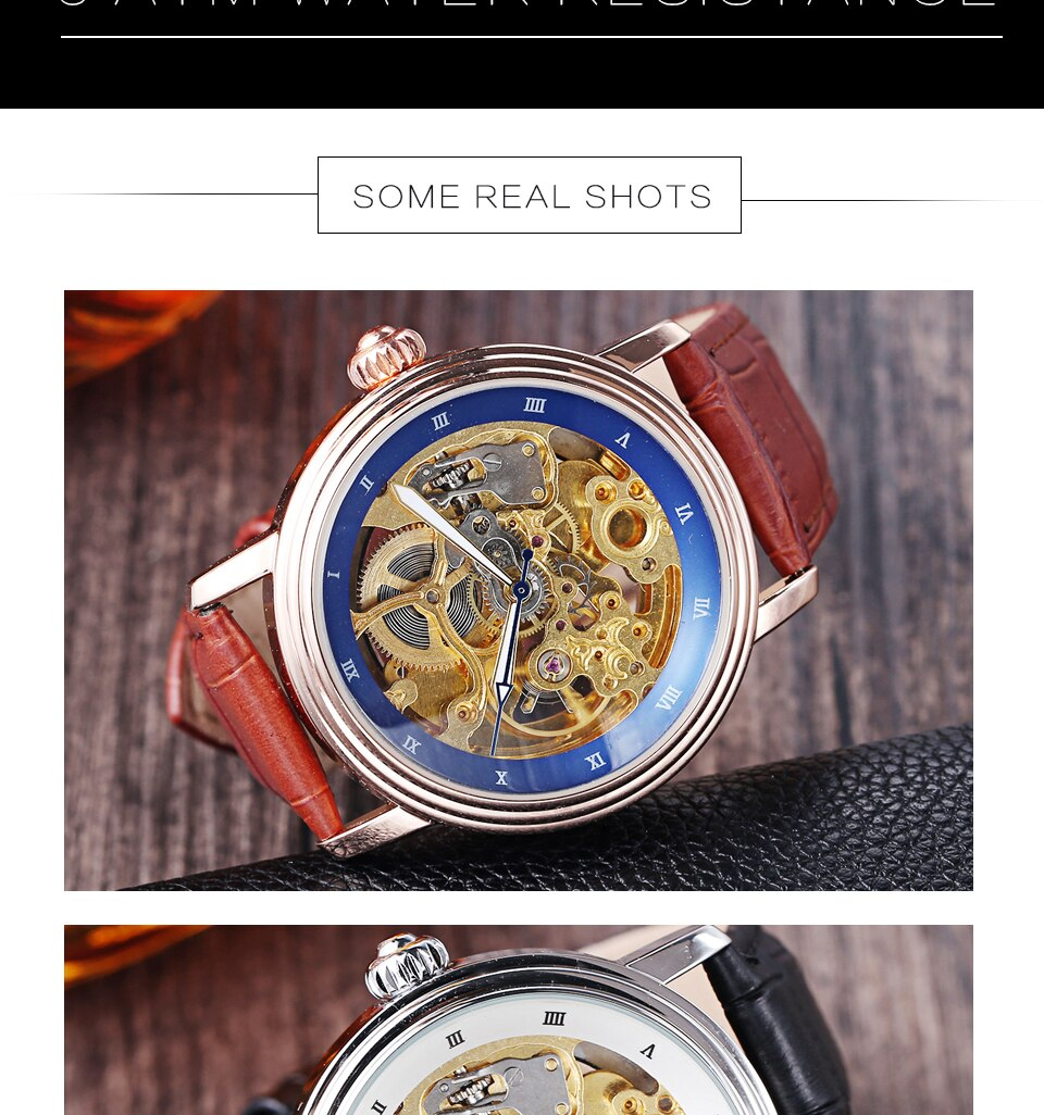 Mens Skeleton Automatic Watch Leather Vintage Men Mechanical Wrist Watch Business Sports Luxury Male Clock Self-wind Steampunk