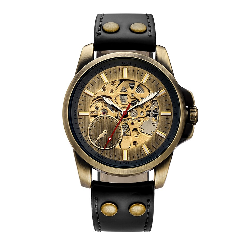 Classy Mechanical Automatic Wristwatch for Men Mens Watch Skeleton Roman Numbers Analog Without Battery Leather Wrist Watches
