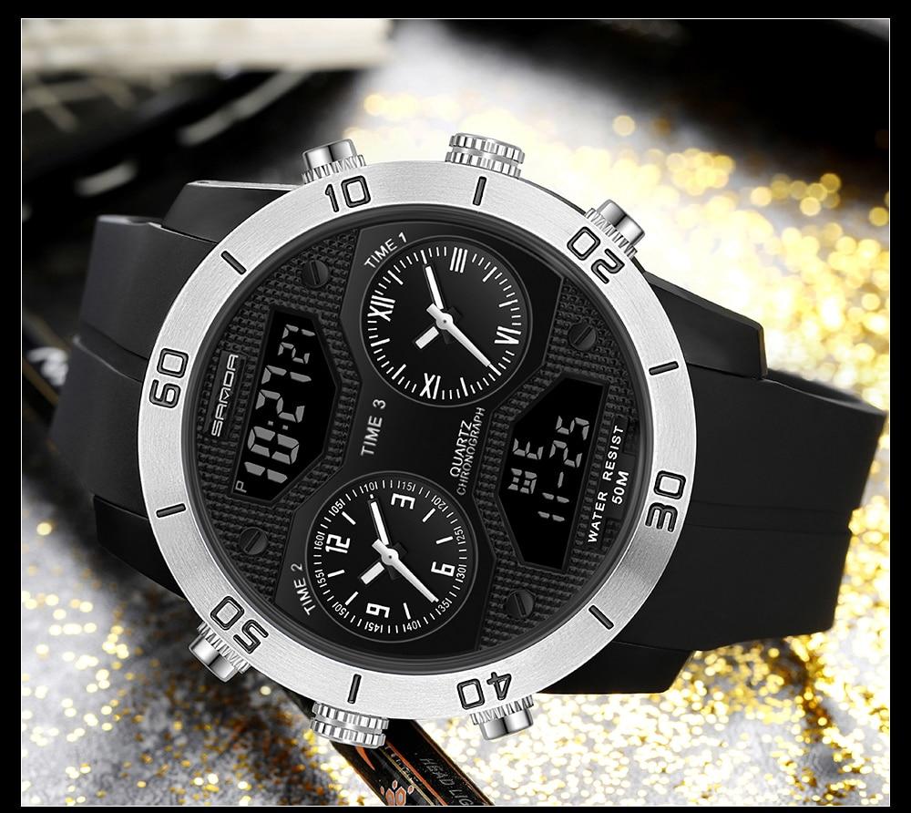 SANDA Men Sport Watch Dual DIsplay Quartz LED Digital Clock Waterproof Silicone Strap Military Wristwatch relogio masculino