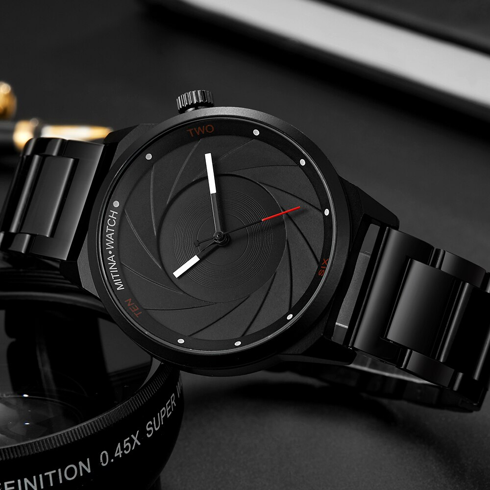 Luxury Men Watch Fashion Unique Quartz Watch Turntable Clock Stainless Steel Watch for Male Sport Wristwatch relogio masculine