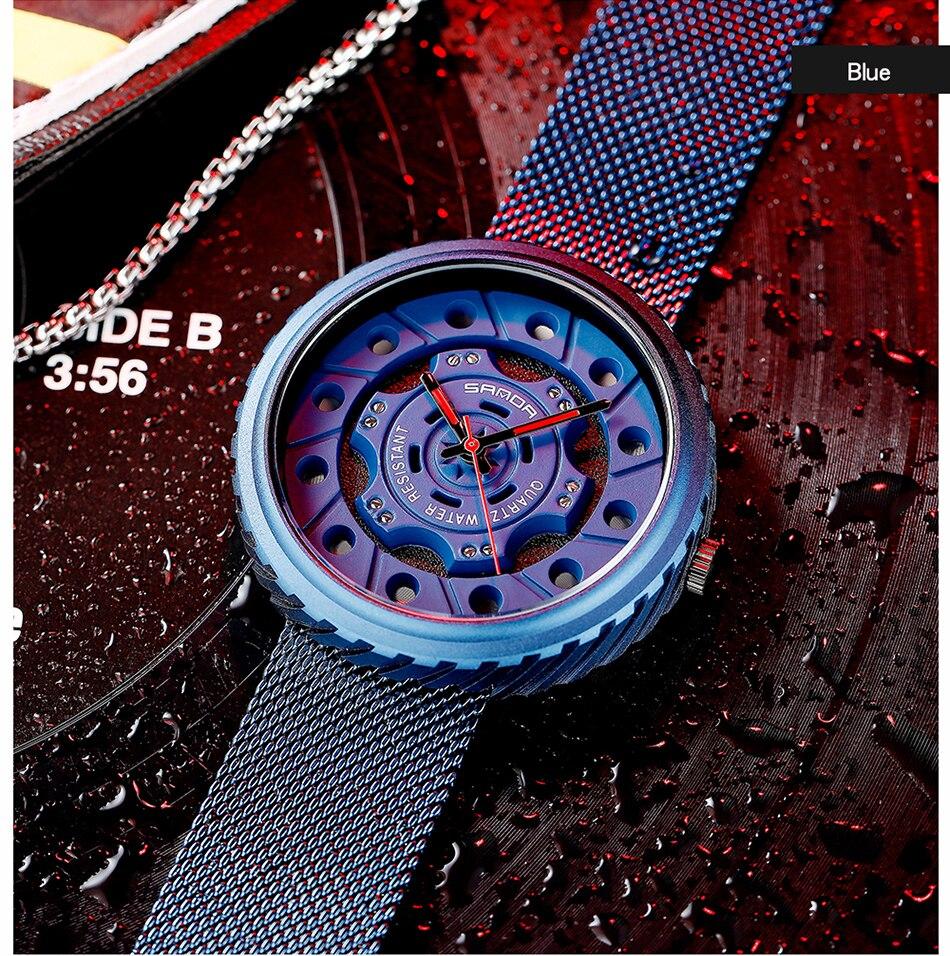 Luxury Brand Creative Gear Design Watch Men Mesh Steel Strap Quartz Wrist Watch Fashion Dress Bracelet 3ATM Waterproof Clock