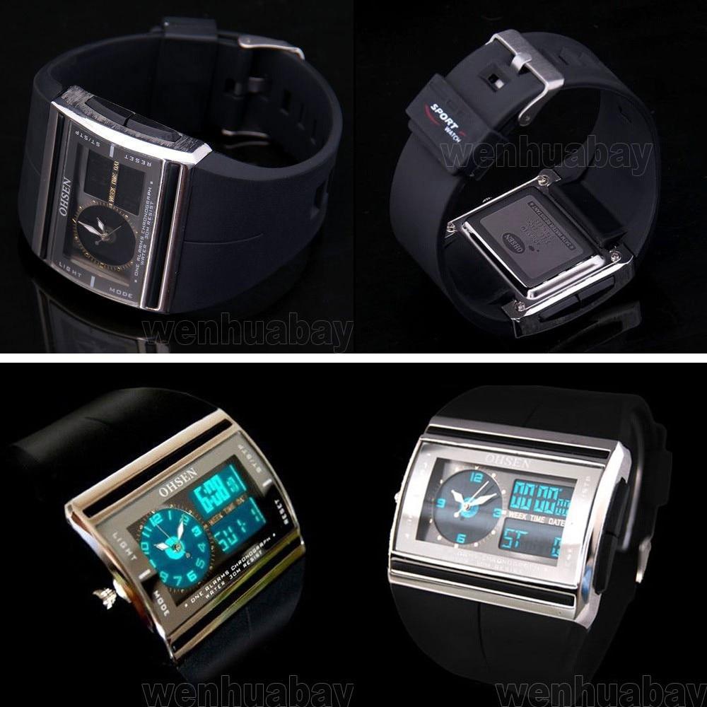 Men Digital Watch Hodinky Men's Luminous Blue Light LED Date Rubber Sports Wristwatch Waterproof Male Analog Quartz Wrist Watch