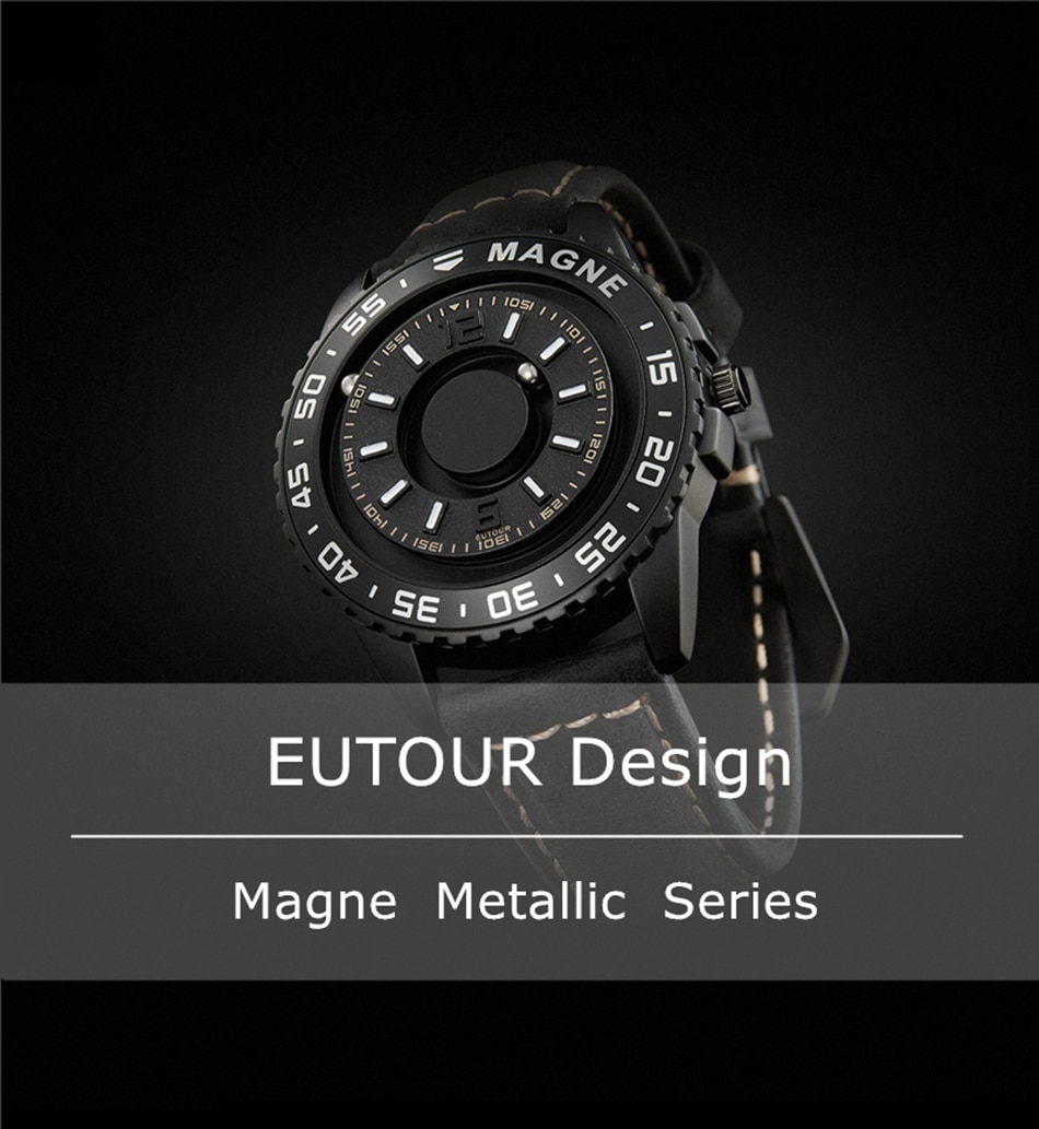 Unique Watch Men Turntable Magnet Metal Bead Leather Strap Wristwatch Cool Sport Simple Male Quartz Clock Relogio Masculine