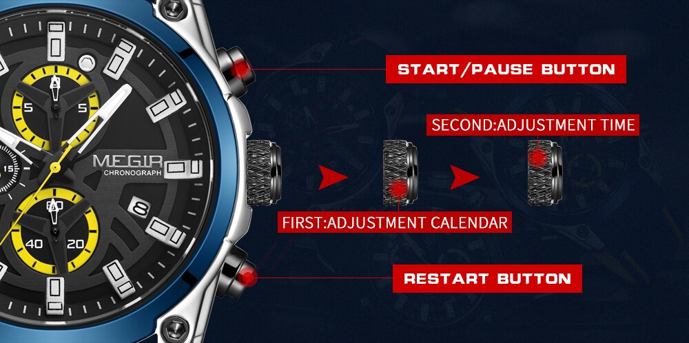 Military Chronograph Watch for Men Multifunction Auto Date Quartz Wrist Watch Waterproof Silicone Strap Clock Male Sport Reloj
