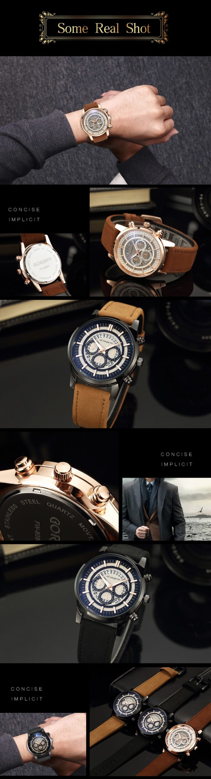 GORBEN Watch Men Creative Rotating Date Numbers Decorative Small Dials Quartz Wrist Watches Fashion Leather Strap Male Bracelet