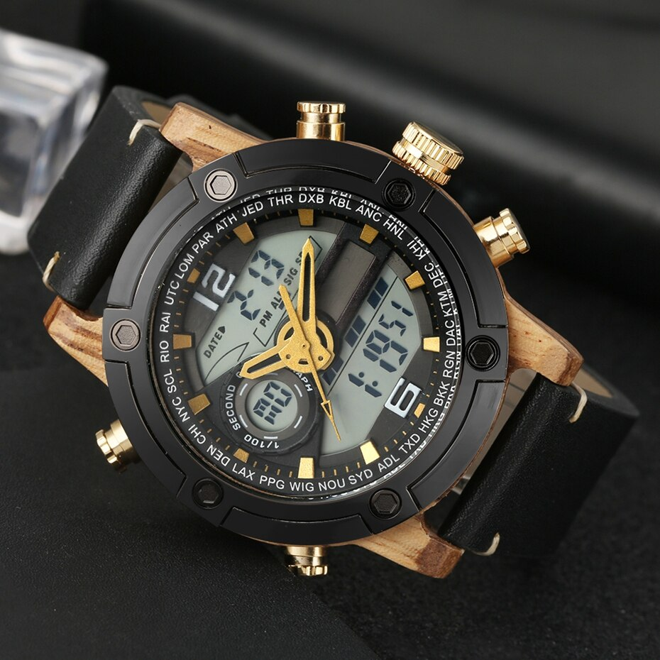 LED Digital Watch Men Wood Wristwatch Fashion Multi-function Quartz Digital Display Date Leather Military Sport Wooden Relogio