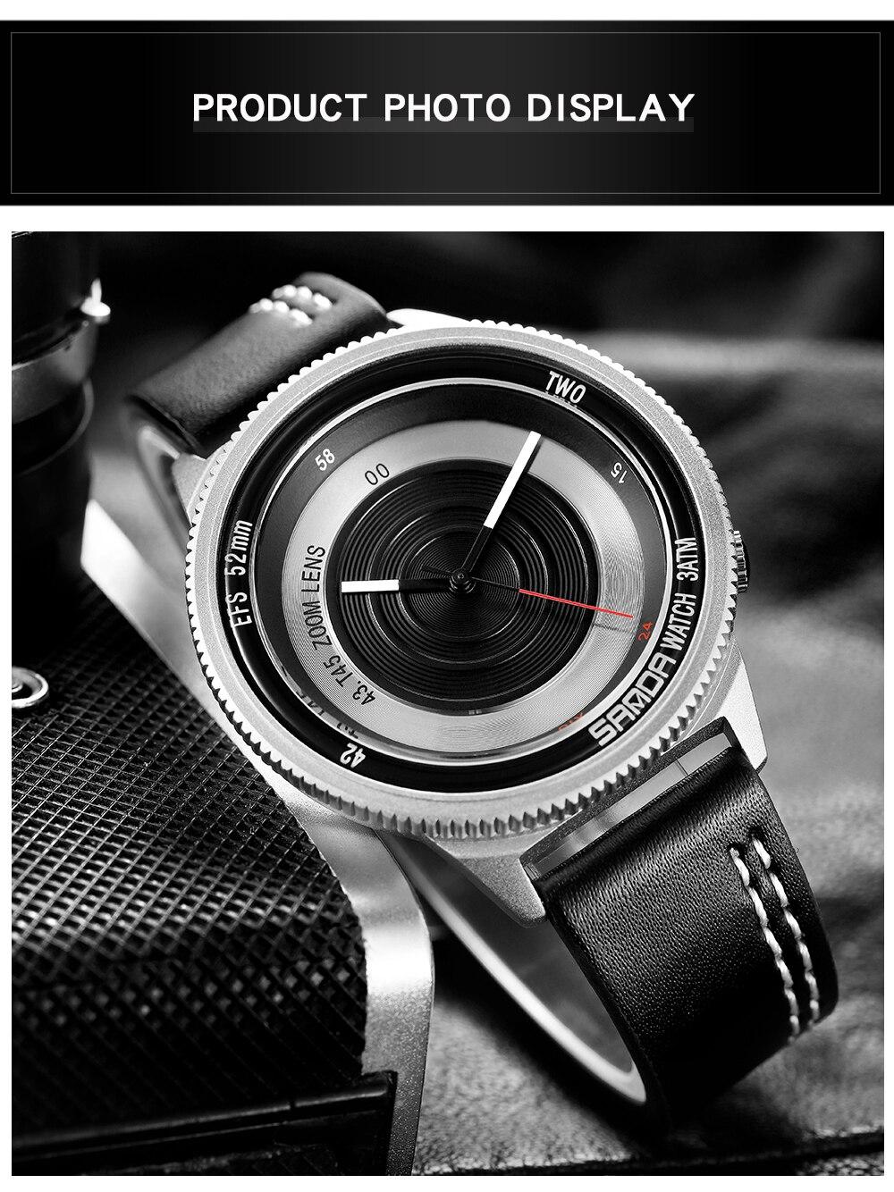SANDA Creative Wristwatch for Men 5 ATM Waterproof Watches Leather Strap Luxury Brand Clock Male Relogio Masculine
