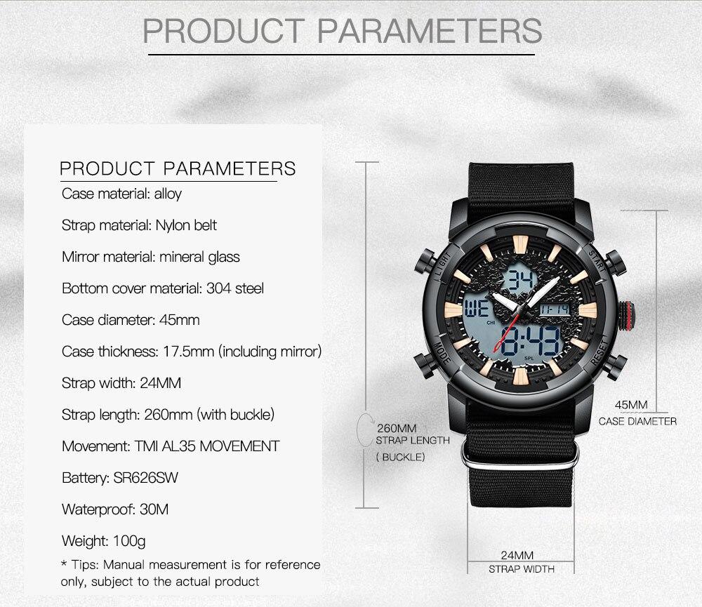 Military Men Watch Army Green Canvas Waterproof Male Clock Date Week Display Luminous Dial Mens Digital Quartz Sport Watches