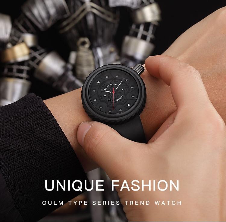 Full Black Men Watches Creative Dial Man Sports Military Watch Male Clock Silicone Strap Quartz Wrist Watch Relogio Masculino