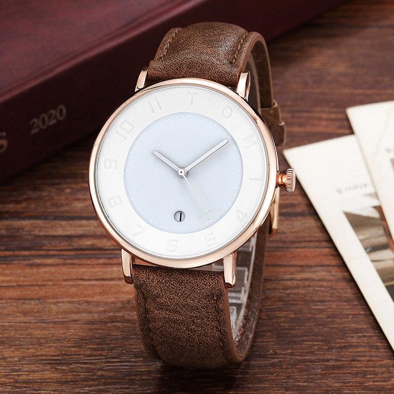 Simple Minimalist Men Watch Creative Dial Leather Band Men Wrist Watch Sports Men's Quartz Watches Dress Wristwatch for Gift