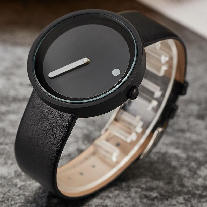 Unique Minimalist Quartz Watch Men Women Couple Wristwatch Creative Turntable Dial Fashion Leather Steel Outdoor Sport Clock