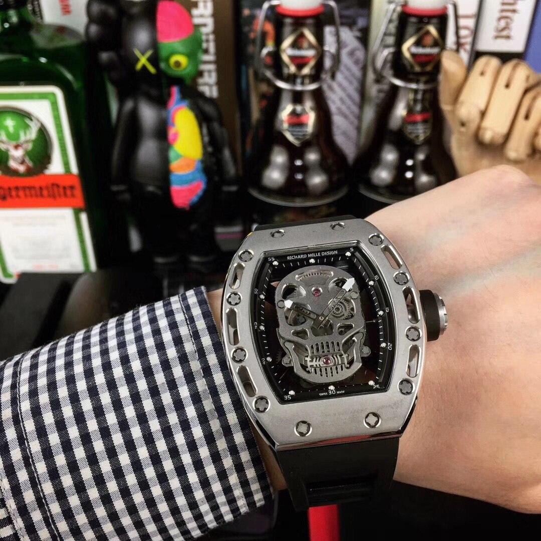 top luxury brand Richard Mille design Skeleton watch automatic mechanical Mens wristwatch Limitde edition skull shape clock gift