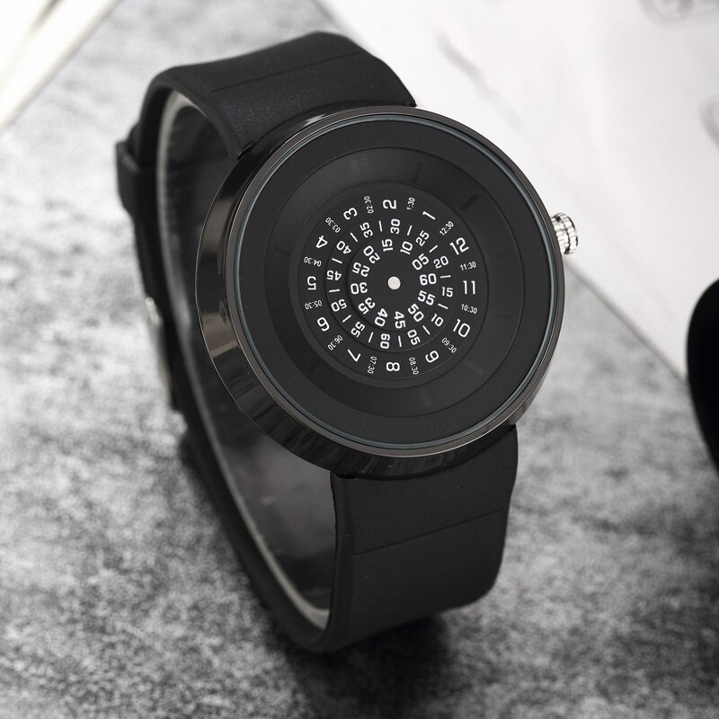 Unique Turntable Paidu Black Quartz Leather Band Wrist Watch Mens Boys Analog Digital Dial Gift Wristwatches relogio masculino