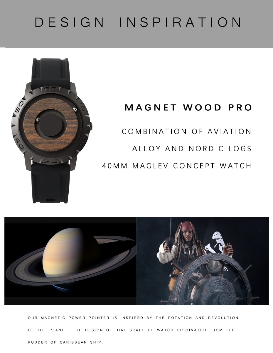 Eutour New Magnetic Wooden Dial Double Ball Parallel Wristwatch Luxury Men's Leisure Personality Pointer Free Quartz Watch