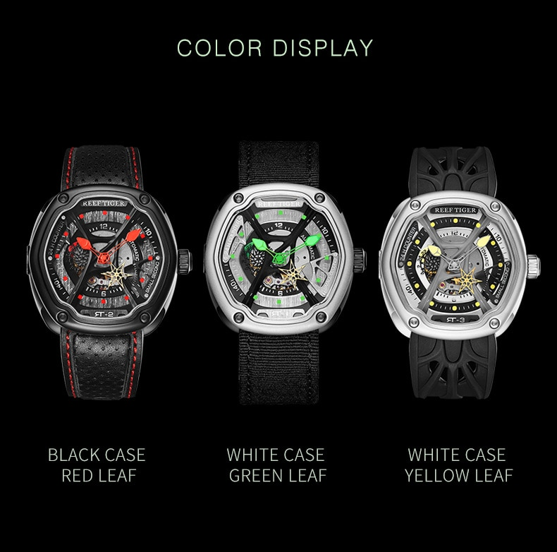Reef Tiger/RT Luxury Dive Design Watches Creative Dial Super Luminous Nylon/Leather/Rubber Strap Design Watch RGA90S7