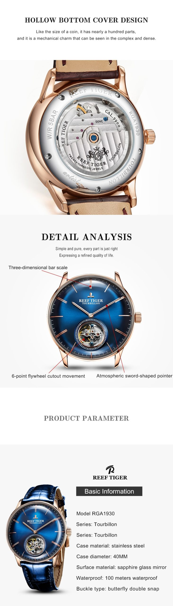 Reef Tiger/RT Men Luxury Brand Tourbillon Watch Blue Rose Gold Automatic Watches Genuine Leather Strap relogio masculine RGA1930
