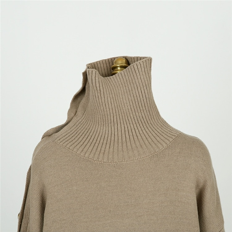 New 2020 Spring Elegant Women Sweaters Sexy Strapless Turtleneck Loose Knitted Pullovers Female Casual Solid Tops Outwear