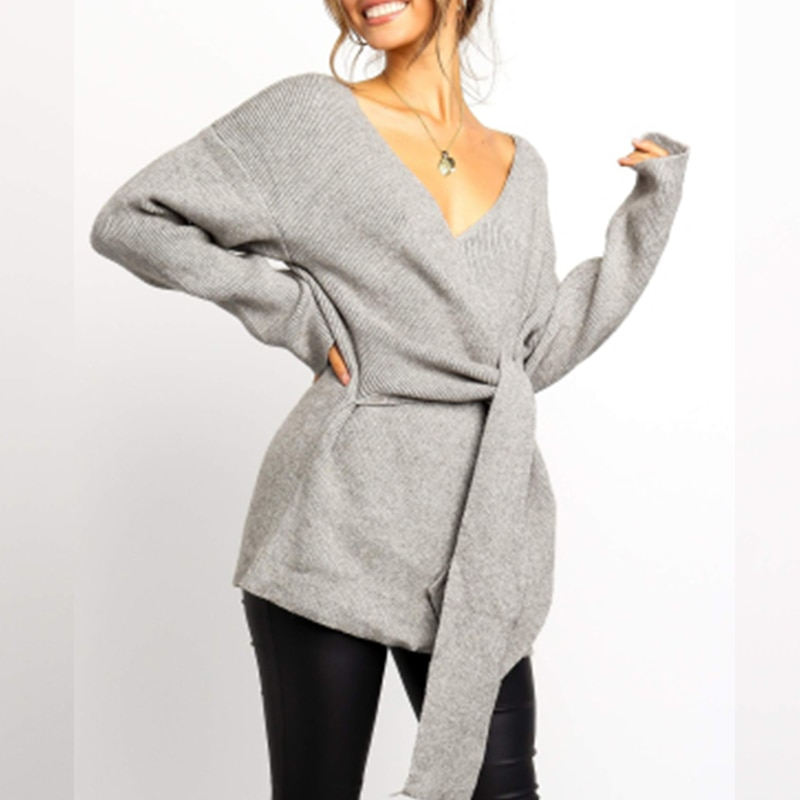 Umeko Fashion Women's Sweater Autumn Winter Ladies Solid Long Sleeve V-Neck Bandage Tie Sweater Fall Womens Oversized Pullover