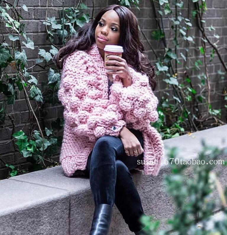 RUGOD 2020 New Winter Coats Women Warm Crocheted Lantern Sleeve Cardigan Women Fashion Multi Color Knitted Sweater Casaco Femme