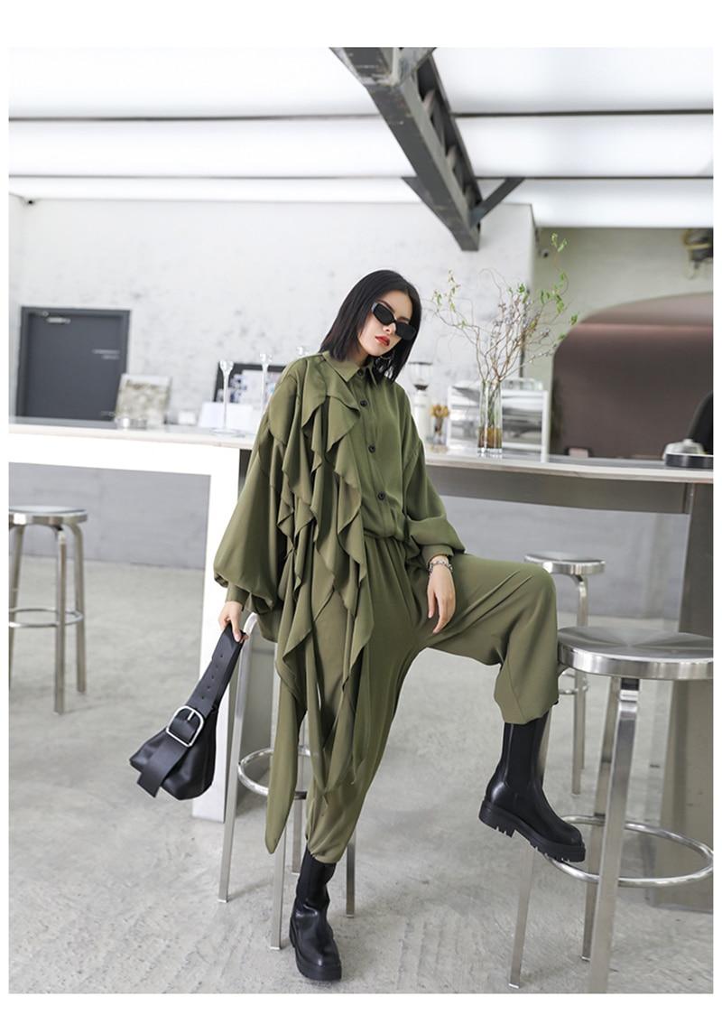 [EAM] Wide Leg Pants Ruffles Big Size Two Piece Suit New Lapel Long Sleeve Black Loose Women Fashion Spring Autumn 2020 1Z84706