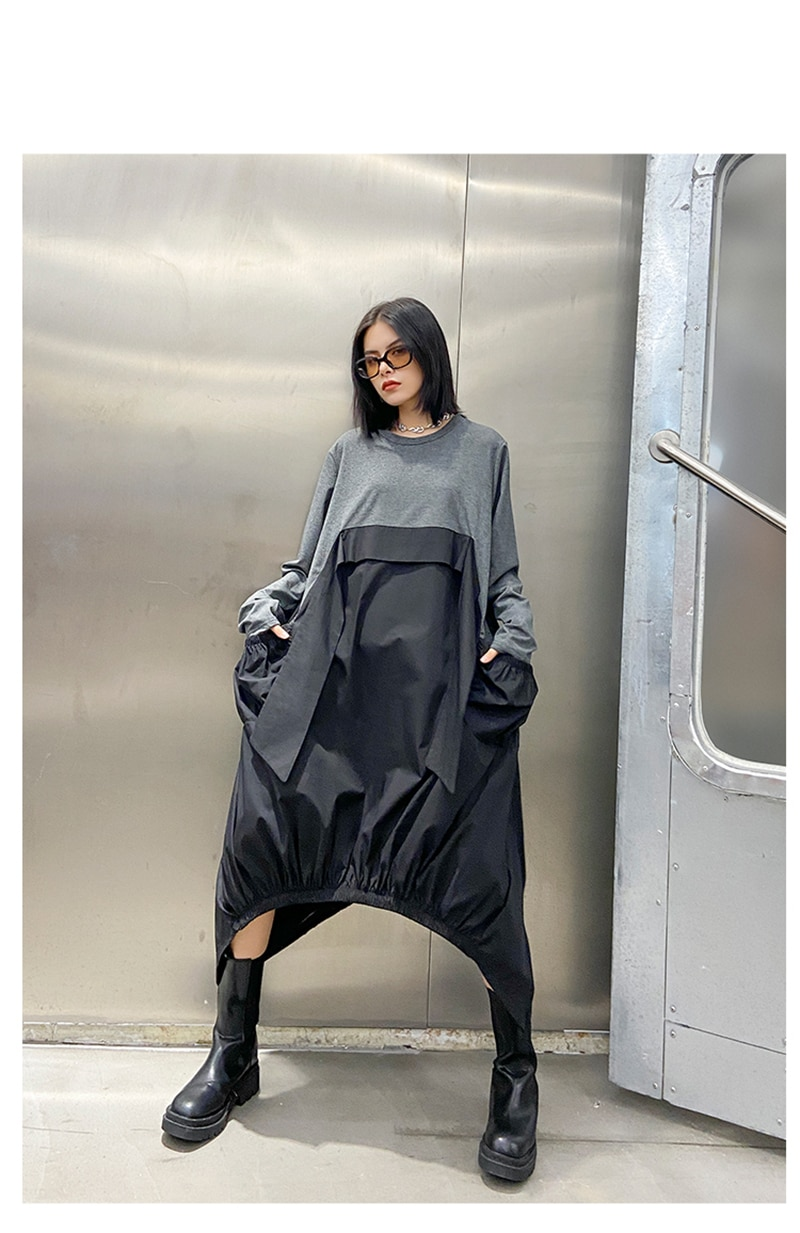 [EAM] Women Gray Contrast Color Big Size Dress New Round Neck Long Sleeve Loose Fit Fashion Tide Spring Autumn 2020 1DA259