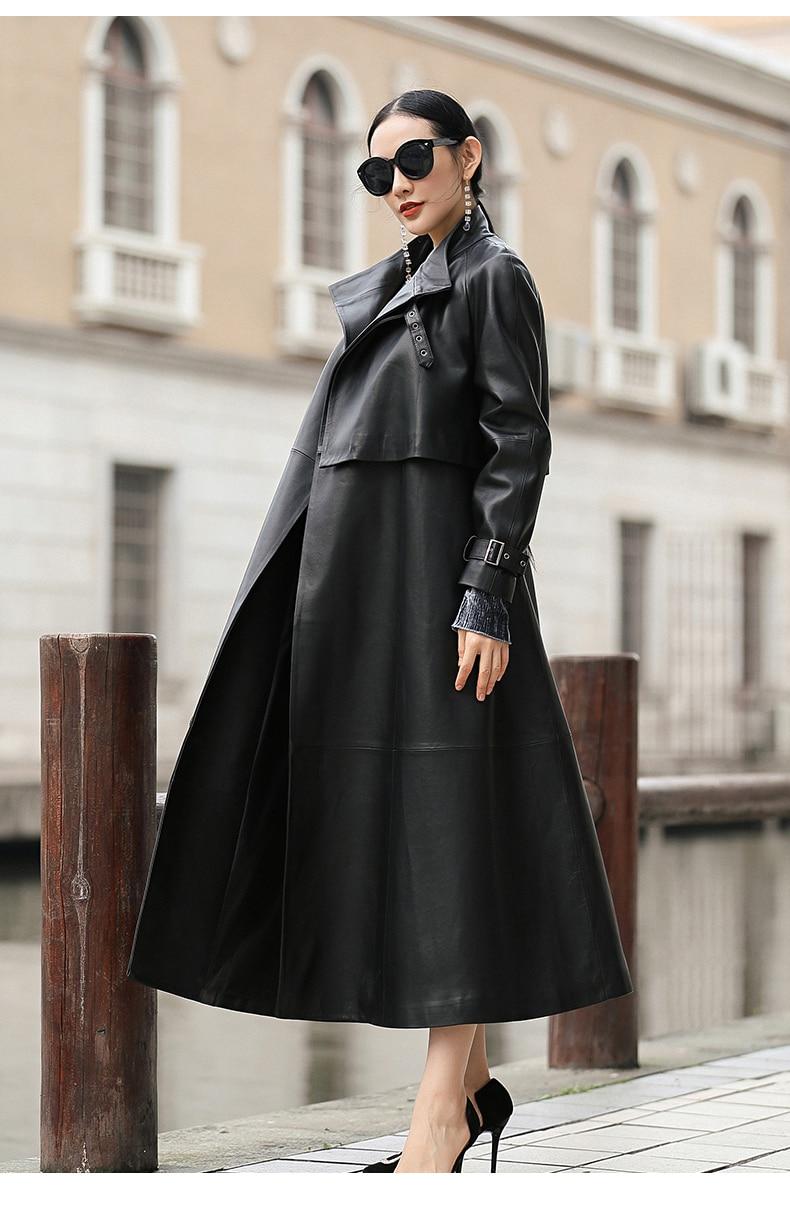 Nerazzurri black long faux leather trench coat for women belt Raglan sleeve spring autumn coat women plus size loose overcoat