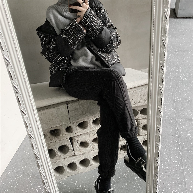 JXMYY Winter Thicken Women Harem Pants Casual Drawstring Twisted Knitted Pants Femme Chic Warm Female Sweater Trousers 2020