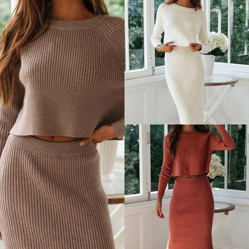 Two Piece Set Women Skirts Winter Suit Long Sleeve Crop Tops+Pencil Skirt 2 Piece Set Slim Lady Women Sweater+Knitted Skirt Set