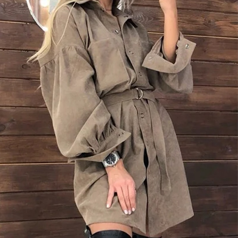 Women Casual Puff Sleeve Fashion Mini Dress Front Buttons Pockets Loose Women DressSolid Color Turn Down Collar Autumn New Dress