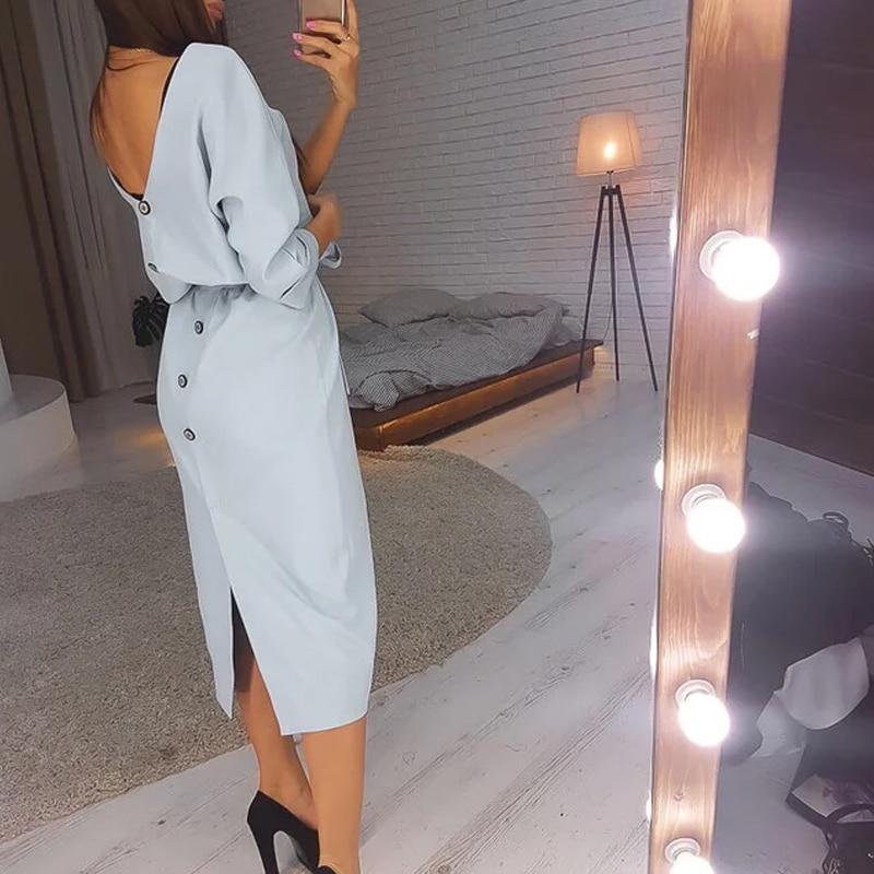 Women Vintage Back Button Sashes Straight Dress Half Sleeve Sexy V necK Solid Elegant Casual Dress 2020 Autumn New Fashion Dress
