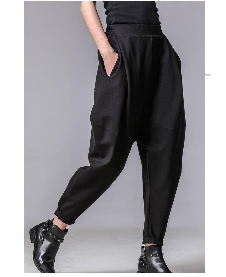XITAO Plus Size Women Autumn Winter Pants Personality Elastic Waist Black Harem Pants Tide Casual Spliced Trousers New XWW3091