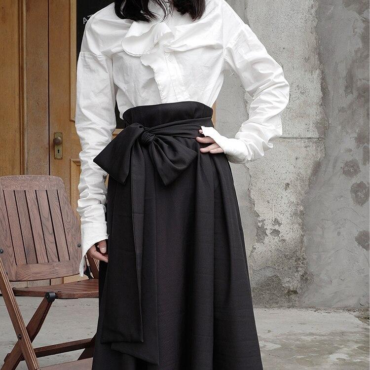 Dark deconstruction of Yamamoto Black Gothic minority design sense of irregular half-length skirt woman a-line high-waisted dres