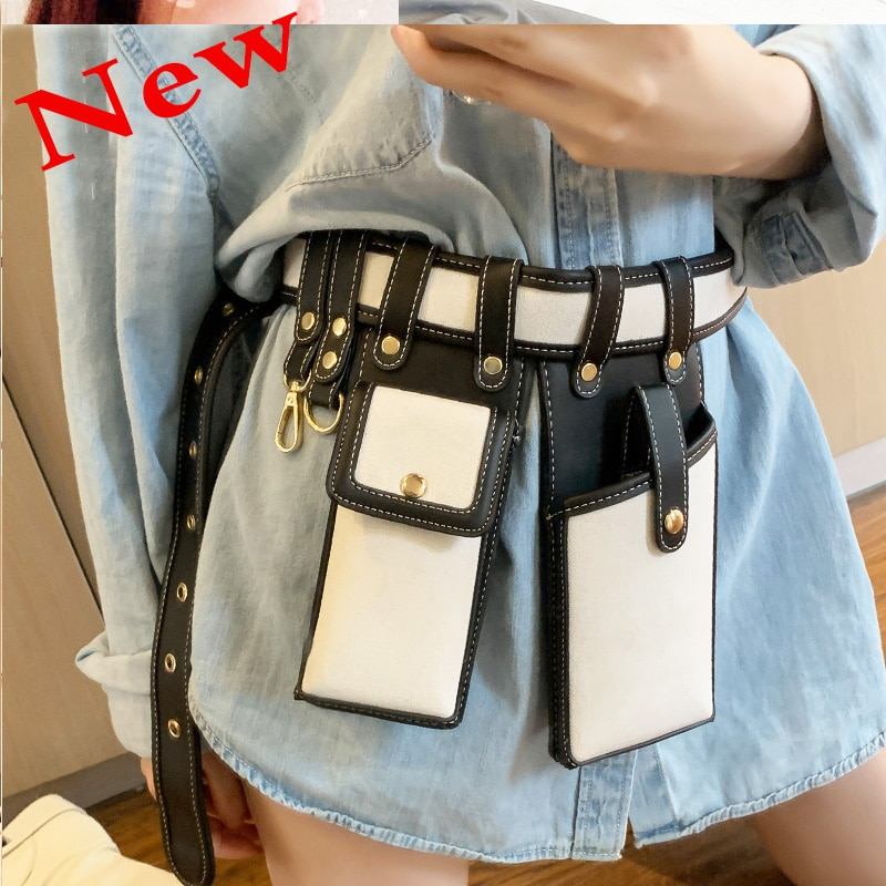 Women Waist Bag Fashion Leather Waist Belt Bag Crossbody Chest Bags Girl Fanny Pack Small  Phone Pack shoulder strap Packs 03037