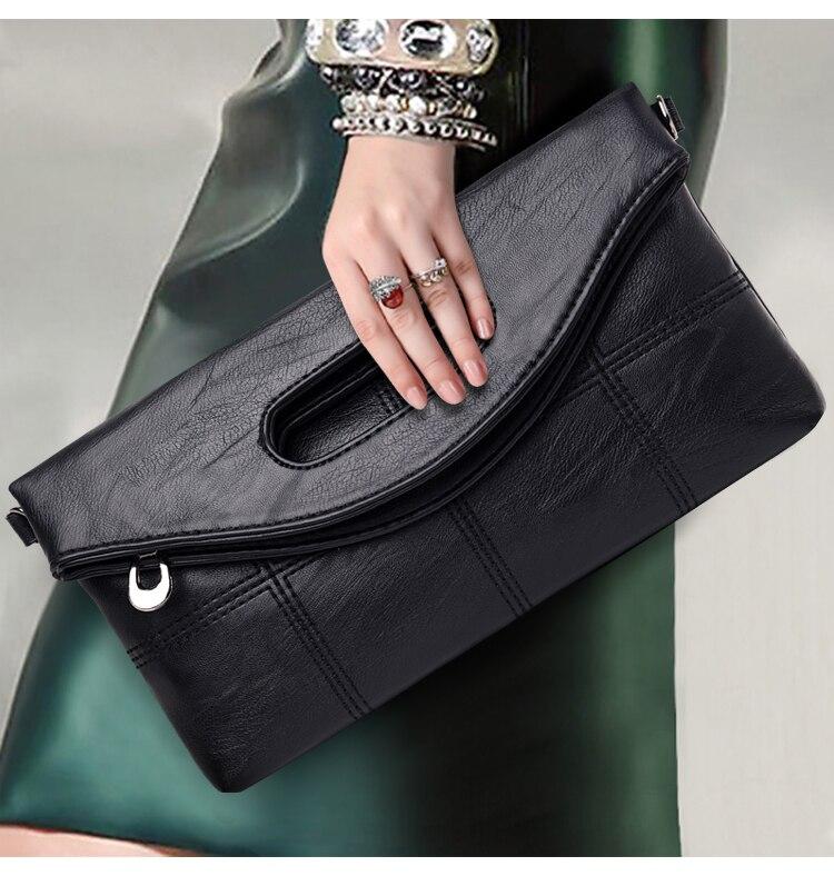Ladies clutch bags 2020 fashion wallet Female bag folding clip bag Women's underarm bag Soft PU leather handbag shoulder bag