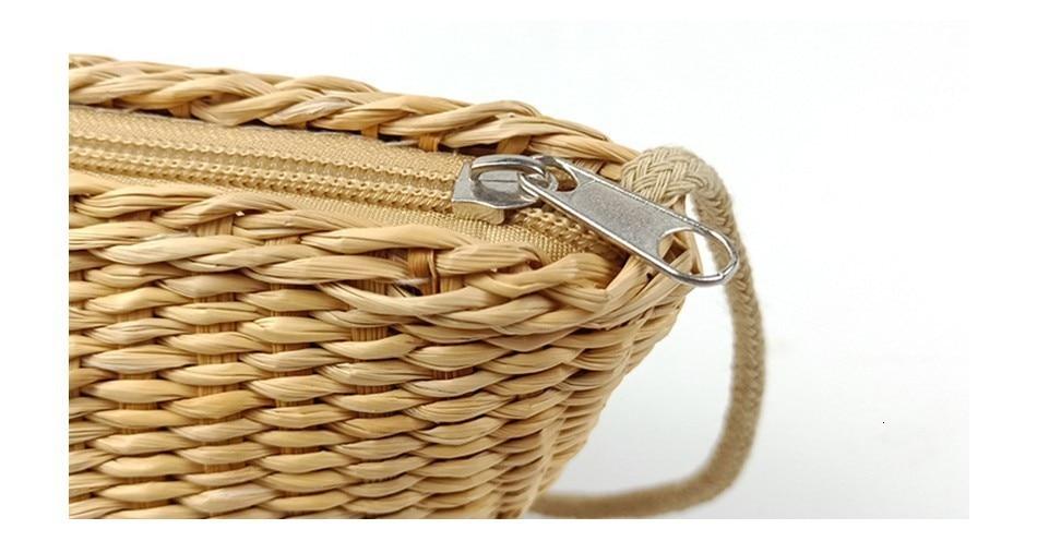 Herald Fashion Women Round Straw Bags Summer Rattan Bag Female Handmade Woven Beach CrossBody Bag Ladies' Circle Bohemia Box
