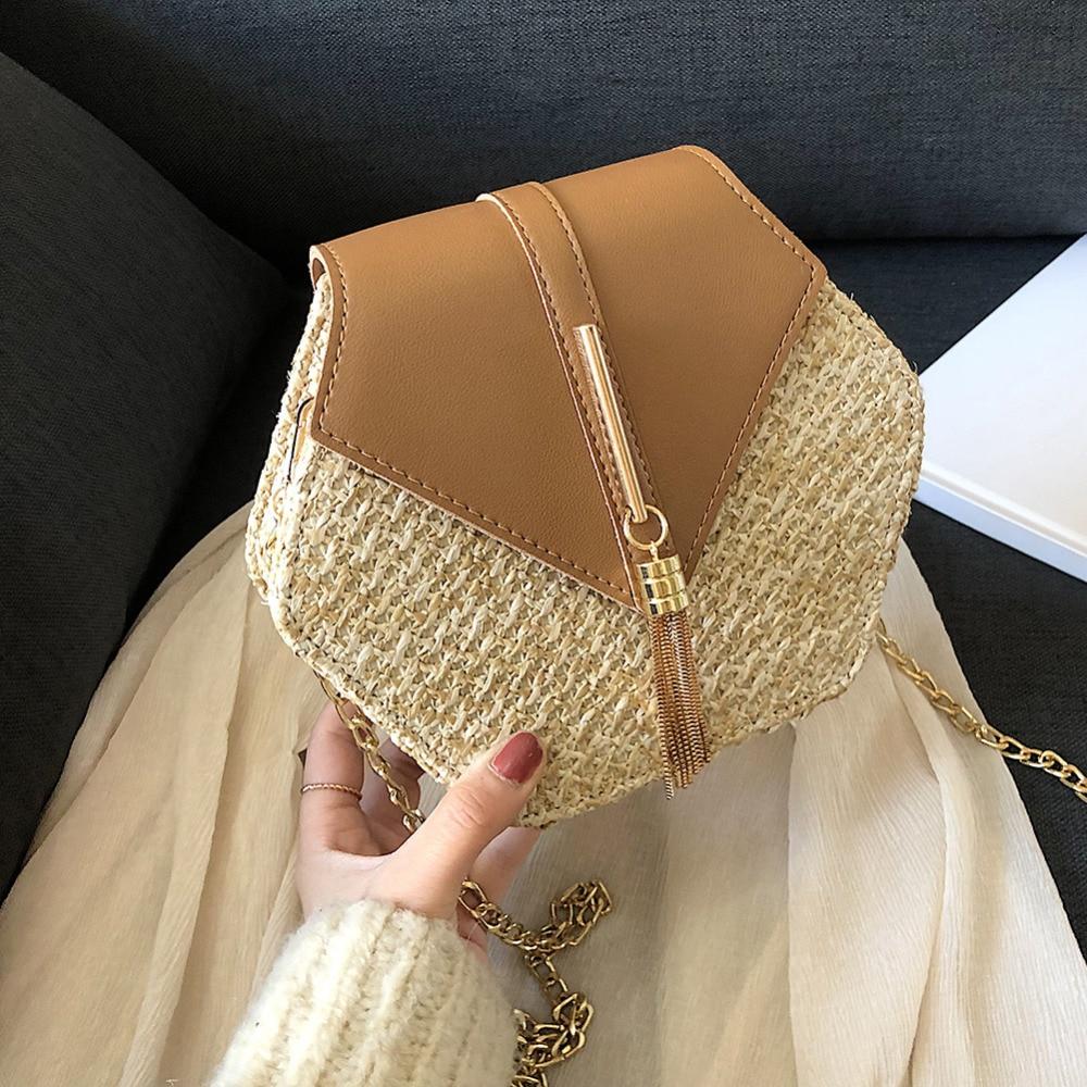 Summer Straw Bags For Women Handmade Tassel Beach Bags 2020 Raffia Rattan Woven Handbags Vacation Shoulder Crossbody Bags Clutch