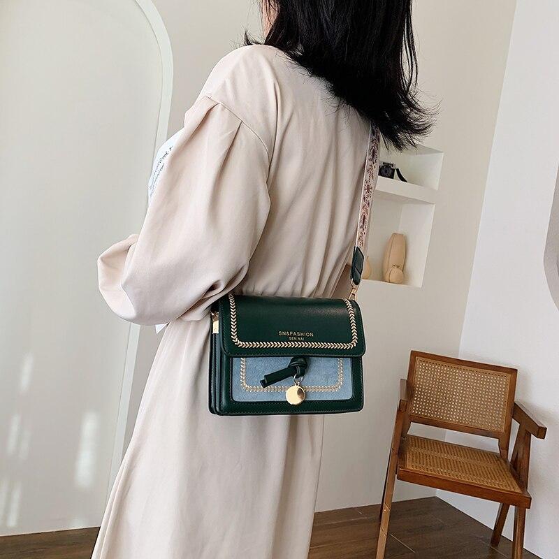 Women's square bag leather crossbody bag ladies contrast color shoulder bag travel handbag simple single shoulder female bags