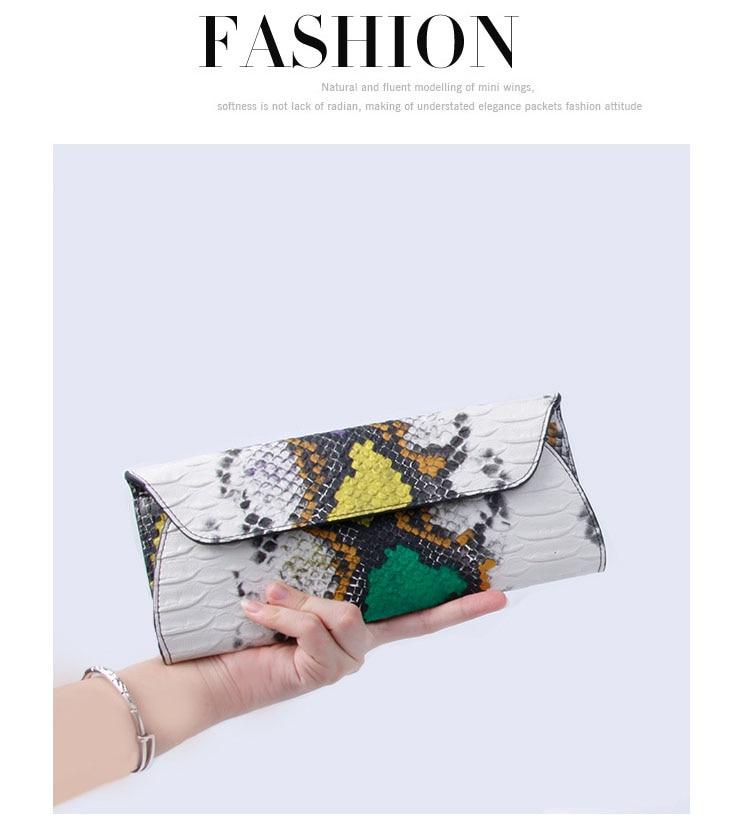 serpentine PU Leather Handbags Day Clutches Fashion Women Messenger Bags Crocodile Pattern Genuine Leather Women's wallets Bag