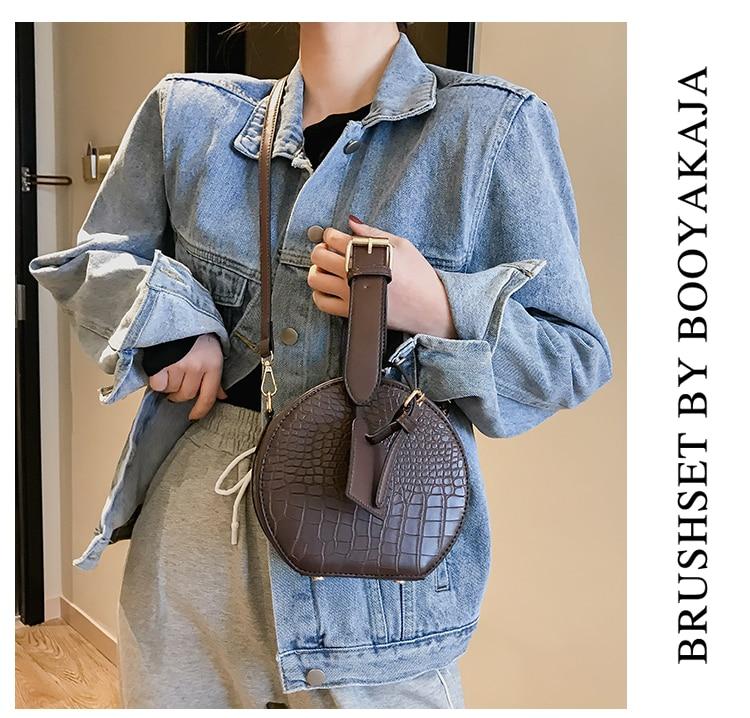 Round Handbag Fashion Messenger Shoulder Bags For Women 2019 Crossbody Bag Classic Alligator Pattern Handle Purse Bolsa