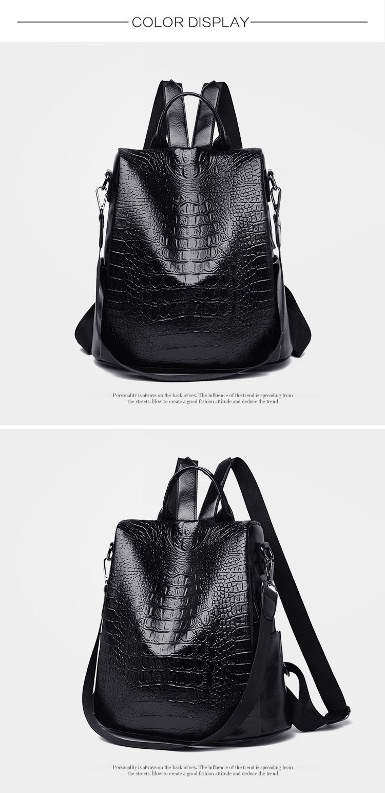 2020 New Women Leather Backpacks Luxury Brand Female Vintage Shoulder Bags Leisure Ladies Crocodile Pattern Anti-theft Backpack