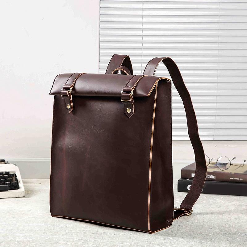PU Leather Men Backpack School Bags for Teenage Girls Boy Bookbag Business Office Laptop Backbag Vintage Travel Bags