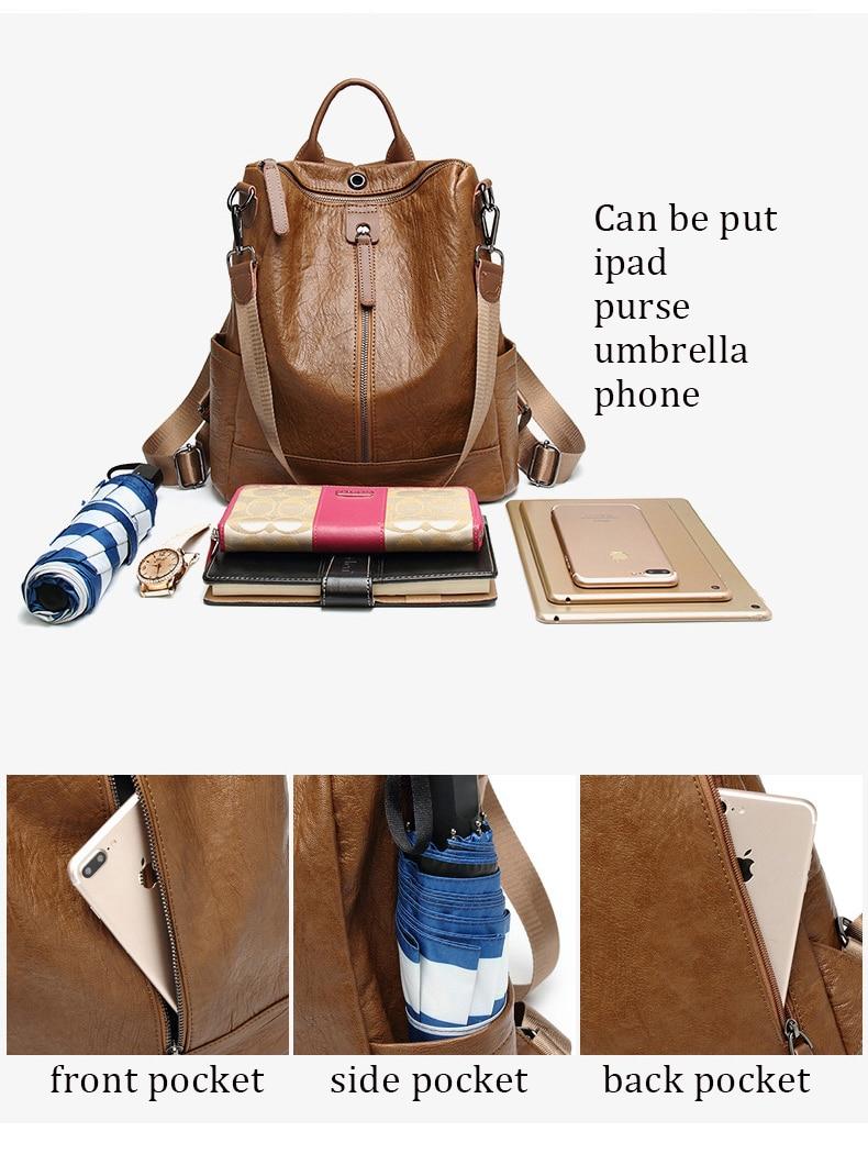 2020 Female Backpack Mochila Feminina Casual Multifunction Women Leather Backpack Female Shoulder Bag Sac A Dos Travel Back Pack