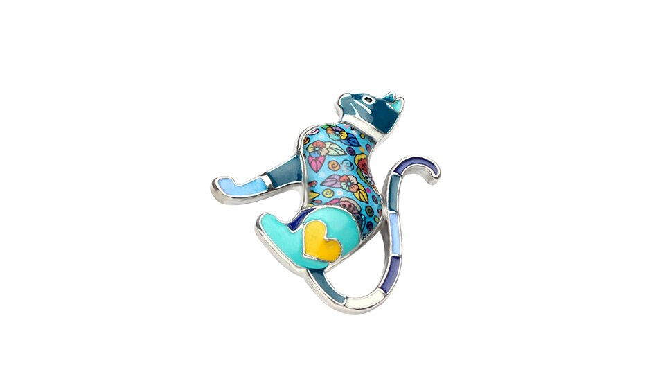 WEVENI Alloy Enamel Cat Brooches Fashion Animal Jewelry Pin For Women Girls Clothes Suit Scarf Decoration Bijoux Accessories New